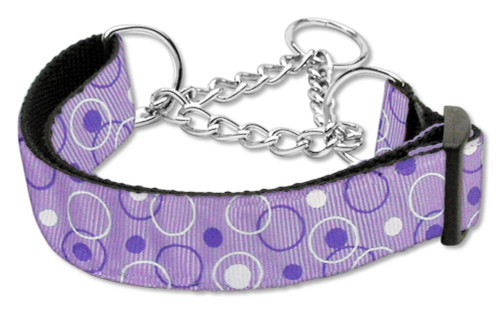 Retro Nylon Ribbon Collar Martingale Lavender Large