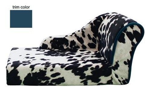Cowprint With Turquoise Trim Pet Chaise Lounge Bed