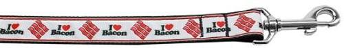 I Love Bacon Nylon Dog Leash 6 Foot
