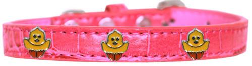 Chickadee Widget Croc Dog Collar Bright Pink Size 14