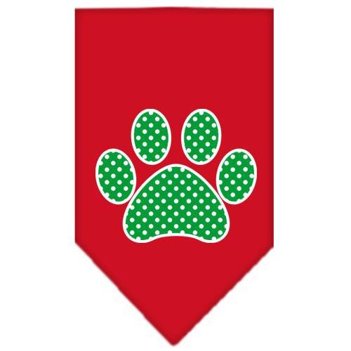 Green Swiss Dot Paw Screen Print Bandana Red Large