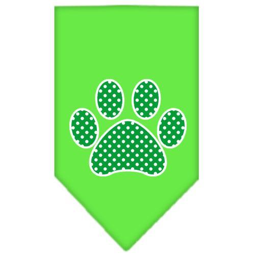 Green Swiss Dot Paw Screen Print Bandana Lime Green Large