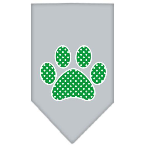 Green Swiss Dot Paw Screen Print Bandana Grey Large
