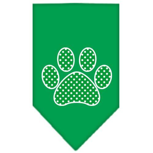 Green Swiss Dot Paw Screen Print Bandana Emerald Green Large