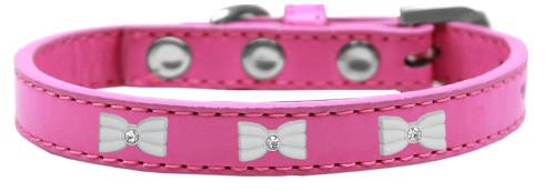White Bow Widget Dog Collar Bright Pink Size 16