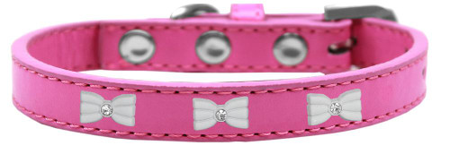 White Bow Widget Dog Collar Bright Pink Size 18