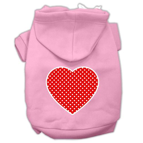 Red Swiss Dot Heart Screen Print Pet Hoodies Light Pink Size Xl (16)