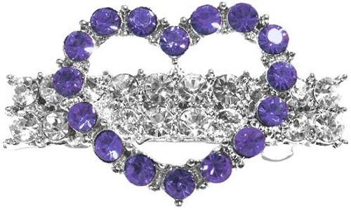 Heart Hair Barrette Purple