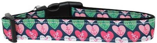 Anchor Candy Hearts Nylon Dog Collar Medium