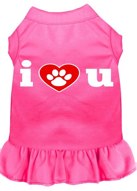 I Heart You Screen Print Dress Bright Pink Lg (14)