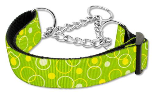 Retro Nylon Ribbon Collar Martingale Lime Green Large