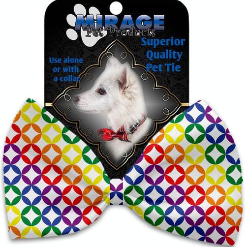 Rainbow Bright Diamonds Pet Bow Tie