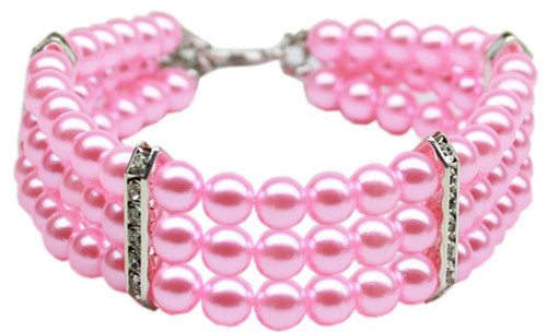 Three Row Pearl Necklace Light Pink Md (10-12)