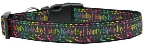 Happy Birthday Nylon Dog Collar Medium