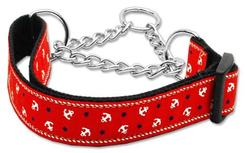 Anchors Nylon Ribbon Collar Martingale Red Large - 125-016M LGRD