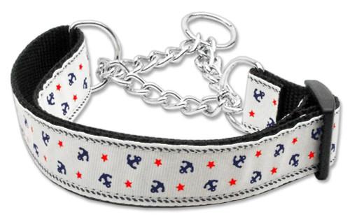Anchors Nylon Ribbon Collar Martingale White Large - 125-016M LGWT