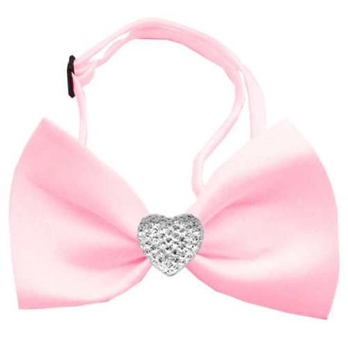 Clear Crystal Heart Light Pink Bow Tie