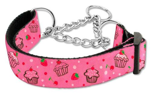 Cupcakes Nylon Ribbon Collar Martingale Medium Bright Pink - 125-019M MDBPK