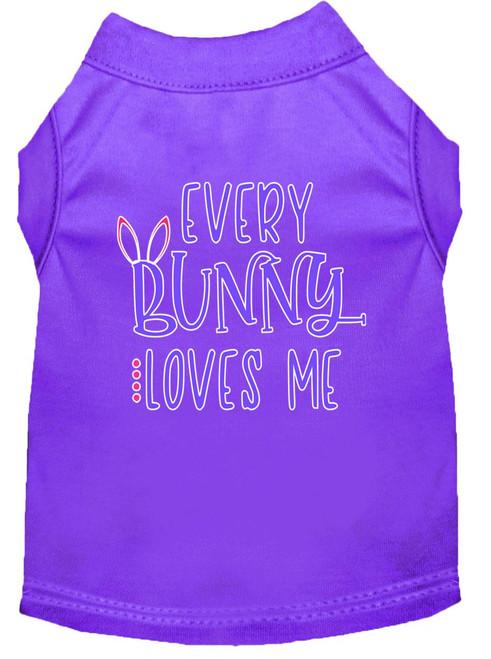 Every Bunny Loves Me Screen Print Dog Shirt Purple Xs (8)