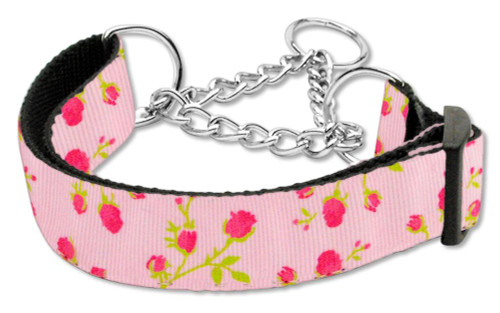 Roses Nylon Ribbon Collar Martingale Medium Light Pink - 125-020M MDLPK