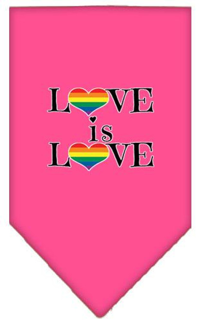 Love Is Love Screen Print Bandana Bright Pink Large