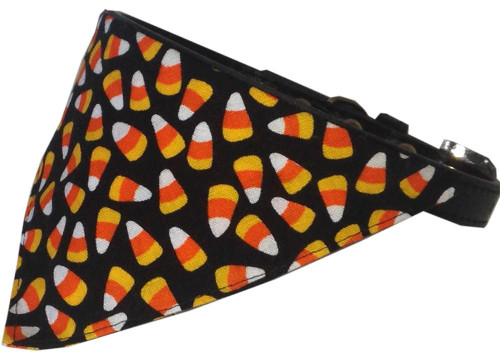 Candy Corn Bandana Pet Collar Black Size 12
