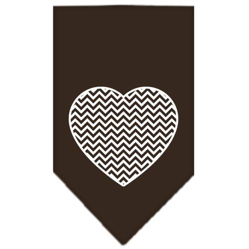 Chevron Heart Screen Print Bandana Brown Small
