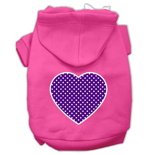 Purple Swiss Dot Heart Screen Print Pet Hoodies Bright Pink Size Xl (16)