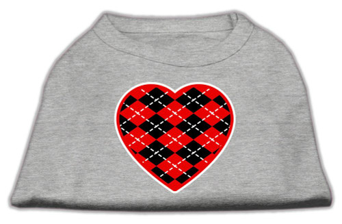 Argyle Heart Red Screen Print Shirt Grey Lg (14)