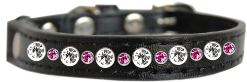 Posh Jeweled Cat Collar Black With Bright Pink Size 12