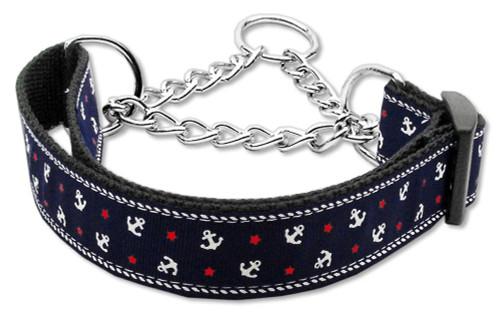 Anchors Nylon Ribbon Collar Martingale Blue Large - 125-016M LGBL