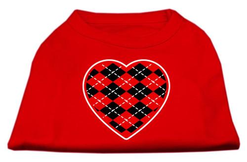 Argyle Heart Red Screen Print Shirt Red Lg (14)