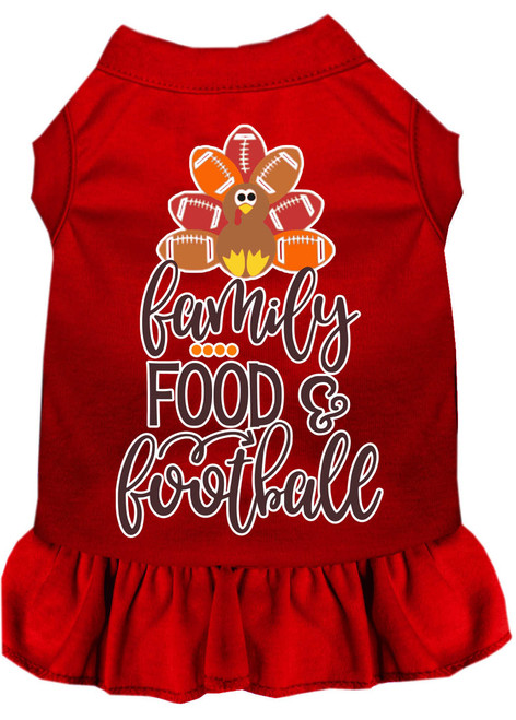Family, Food, And Football Screen Print Dog Dress Red Xxxl
