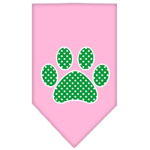 Green Swiss Dot Paw Screen Print Bandana Light Pink Large