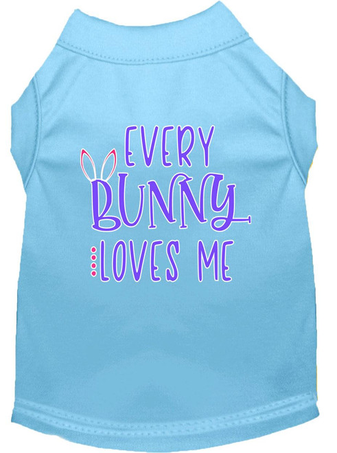 Every Bunny Loves Me Screen Print Dog Shirt Baby Blue Xs (8)