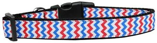 Patriotic Chevrons Nylon Dog Collar Medium