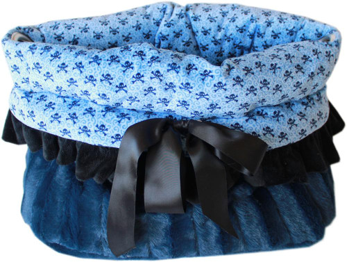 Baby Blue Skulls Reversible Snuggle Bugs Pet Bed, Bag, And Car Seat All-in-one