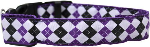 Led Dog Collar Argyle Purple Size Medium