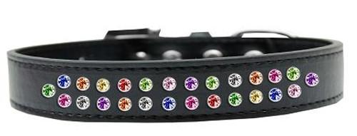 Two Row Confetti Crystal Size 14 Black Dog Collar
