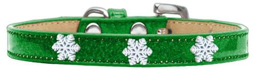 Snowflake Widget Dog Collar Emerald Green Ice Cream Size 14