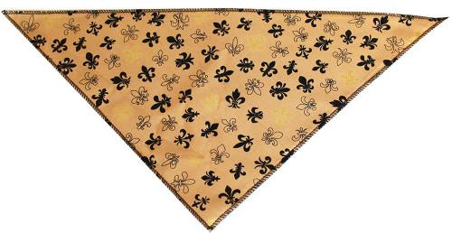 Gold Fleur De Lis Tie-on Pet Bandana Size Small