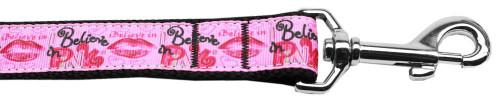 Believe In Pink Nylon Dog Leash 4 Foot