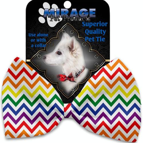 Rainbow Chevron Pet Bow Tie