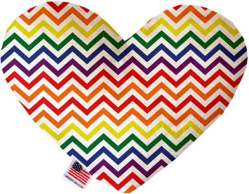 Rainbow Chevron 8 Inch Heart Dog Toy