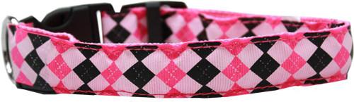 Led Dog Collar Argyle Pink Size Small