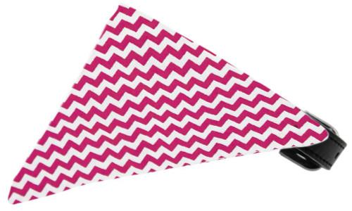 Bright Pink Chevron Bandana Pet Collar Black Size 18