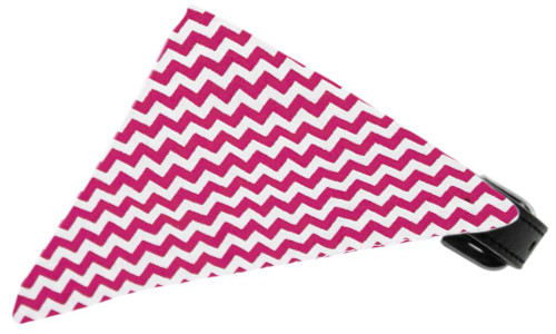 Bright Pink Chevron Bandana Pet Collar Black Size 12