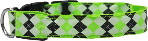 Led Dog Collar Argyle Green Size Medium