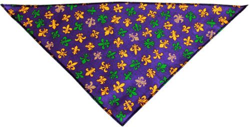 Mardi Gras Fleur De Lis Tie-on Pet Bandana Size Small