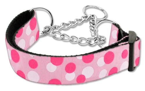 Confetti Dots Nylon Collar Martingale Light Pink Medium